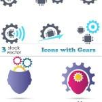 دانلود وکتور آیکون با طرح چرخدنده Vectors – Icons with Gears