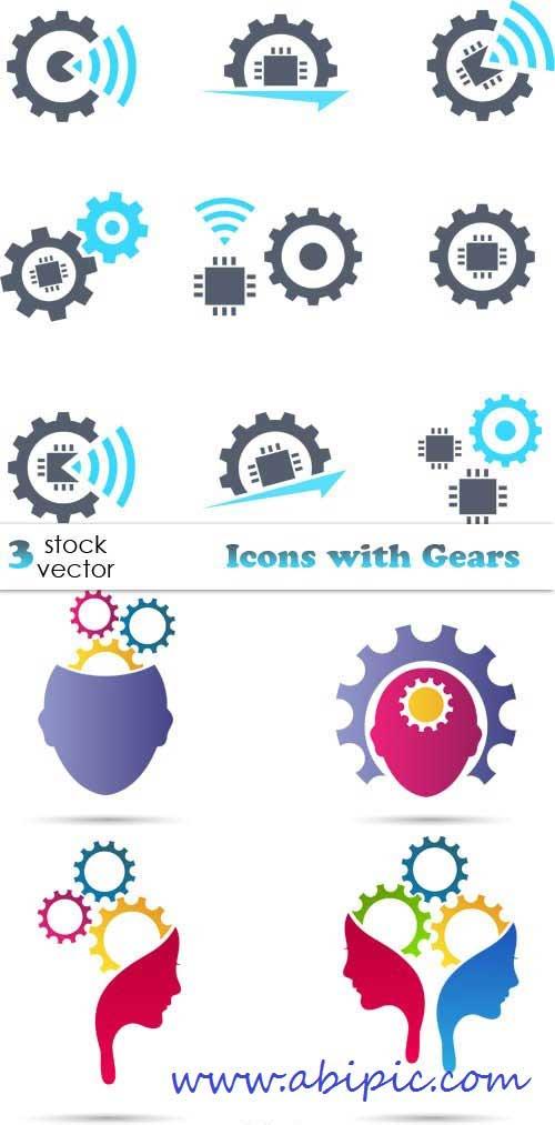دانلود وکتور آیکون با طرح چرخدنده Vectors - Icons with Gears