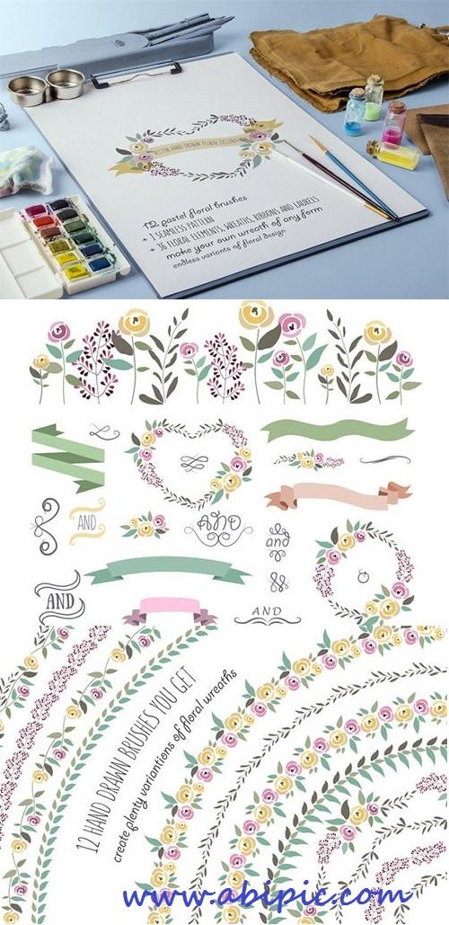 دانلود وکتور براش های الگوهای گل ایلوستریتور Floral Pattern Brushes
