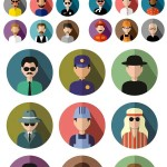 دانلود آیکون های گرد با طرح مردم برای شغل های مختلف round icons with people