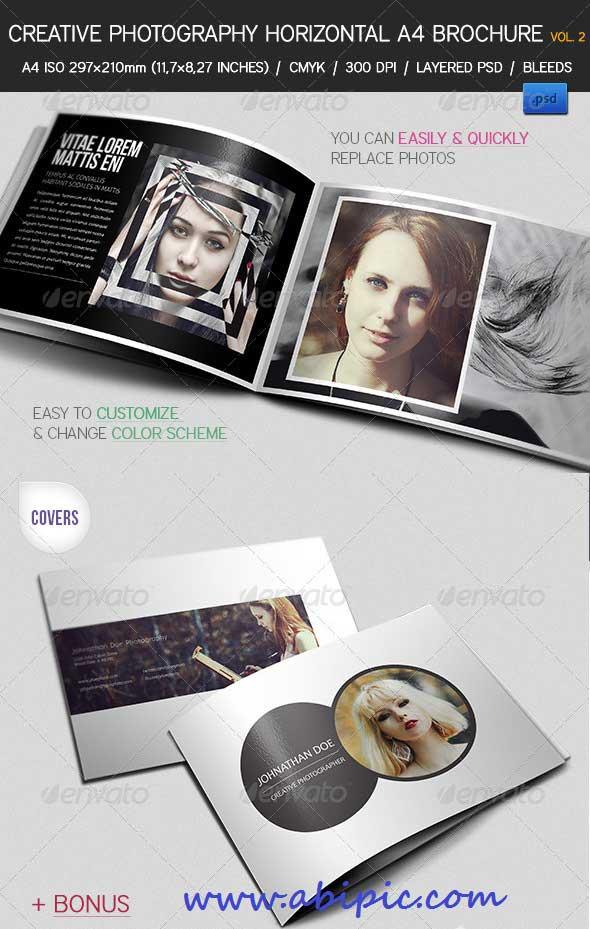 طرح پیش نمایش و بروشور عکاسی برای فتوشاپ Creative Photography Portfolio A4 Brochure