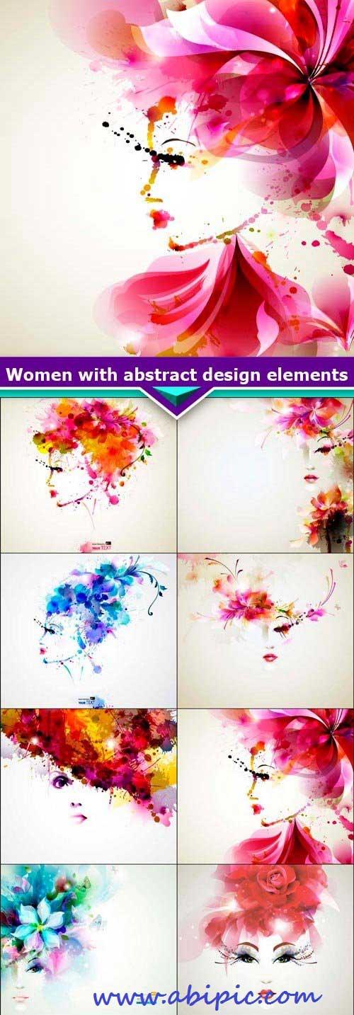 دانلود وکتور طرح های انتزائی از صورت خانم ها Women with abstract design elements
