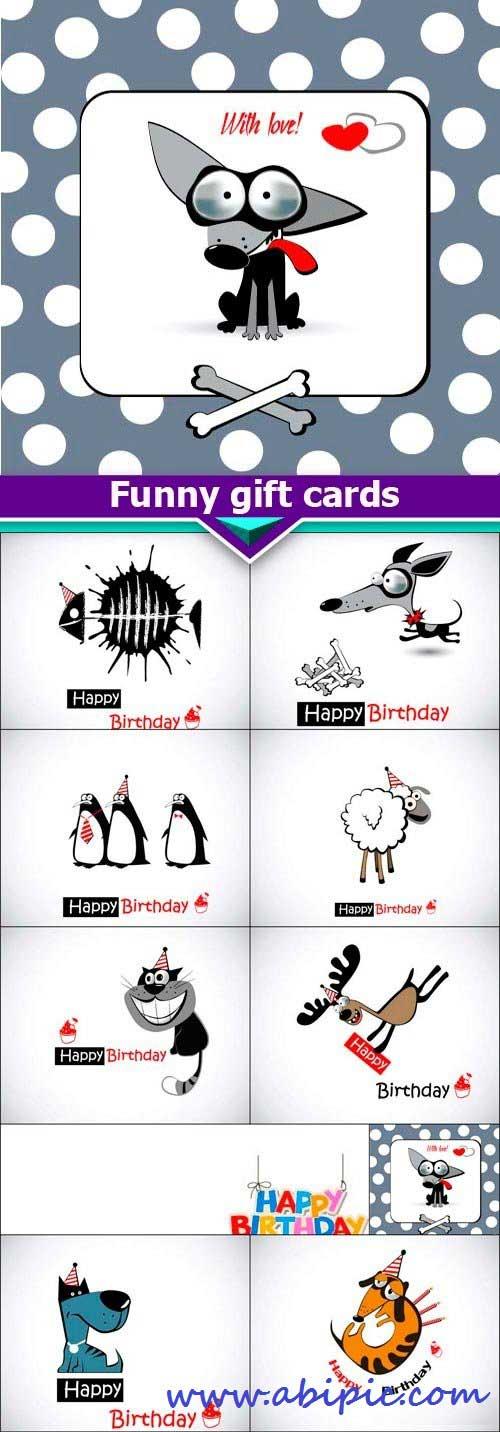 دانلود 10 وکتور کارت تبریک های بامزه و زیبا Funny gift cards Vector