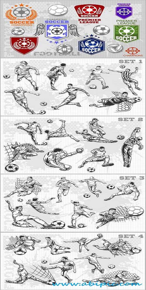 دانلود وکتور لوگوی تیم فوتبال و بازیکنان فوتبال Vector Soccer labels and players