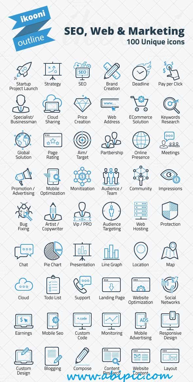 دانلود آیکون های طراحی سایت ، بازاریابی و سئو SEO, Web & Marketing Icon