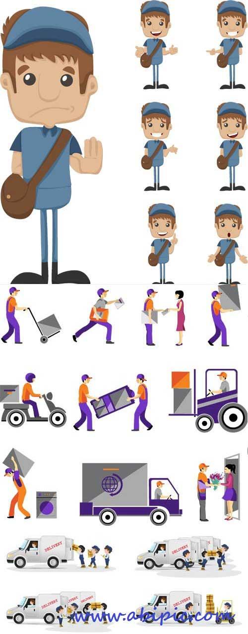 دانلود وکتور تحویل بسته پستی یا دلیوری Vectors - Deliver