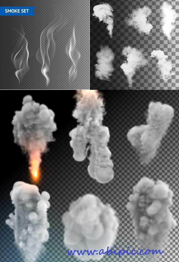 دانلود مجموعه کاملی از انواع وکتور دود سری 1 Isolated Smoke Collection