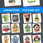 دانلود مجموعه وکتور انواع هیولا Monsters – vector