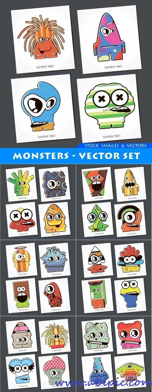 دانلود مجموعه وکتور انواع هیولا Monsters - vector
