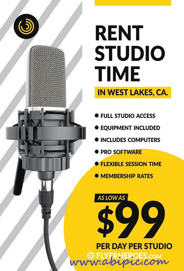دانلود طرح لایه باز پوستر استودیو Studio Time Flyer PSD Template