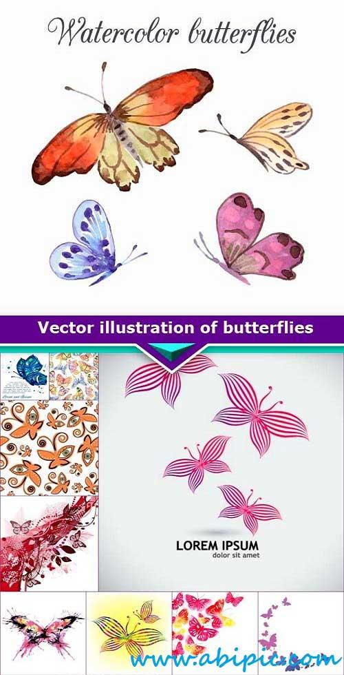 دانلود وکتور پروانه Vector illustration of butterflies