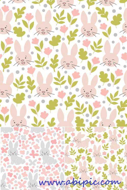دانلود وکتور پترن و الگوهای با طرح خرگوش Bunny color seamless vector pattern
