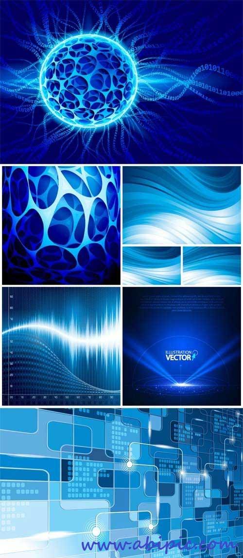 دانلود مجموعه 27 کتور پس زمینه طراحی Blue vector background with abstraction