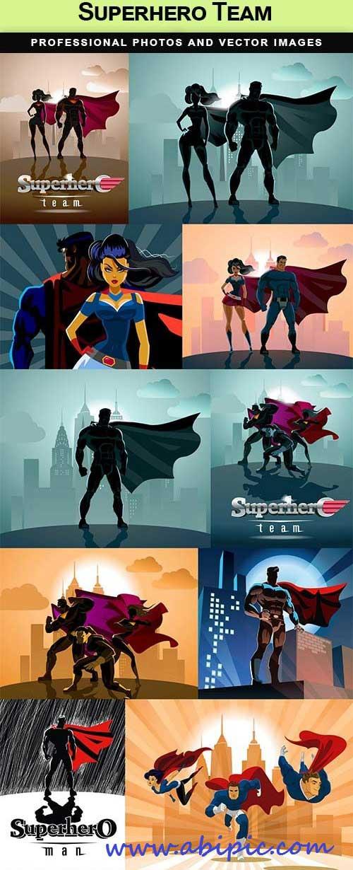 دانلود مجموعه وکتور ابر قهرمان Superhero Team Vector
