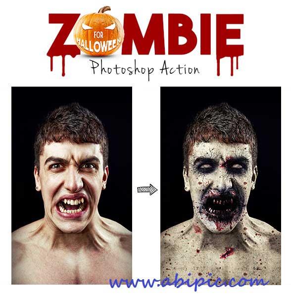 دانلود اکش فتوشاب افکت زامبی Zombie Photoshop Action