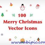 دانلود مجموعه آیکون های تزئینی برای کریسمس Merry Christmas Vector Icons