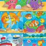 دانلود وکتور ماهی و موجودات زیر دریا Colorful Painted Fish