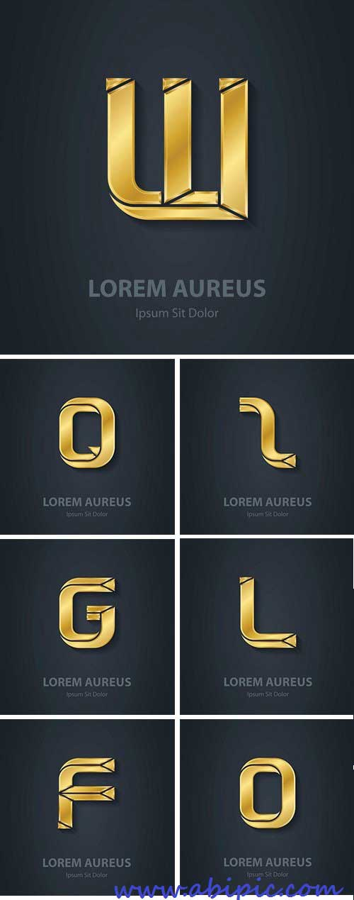 دانلود وکتور حروف الفبای طلایی Golden Letters