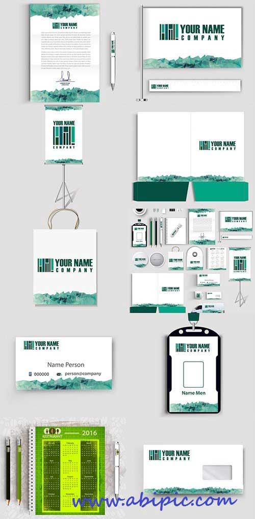دانلود وکتور ست اداری شماره 8 Corporate Identity Green