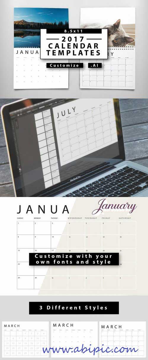 دانلود وکتور طرح خام ساخت تقویم 2017 Calendar Templates