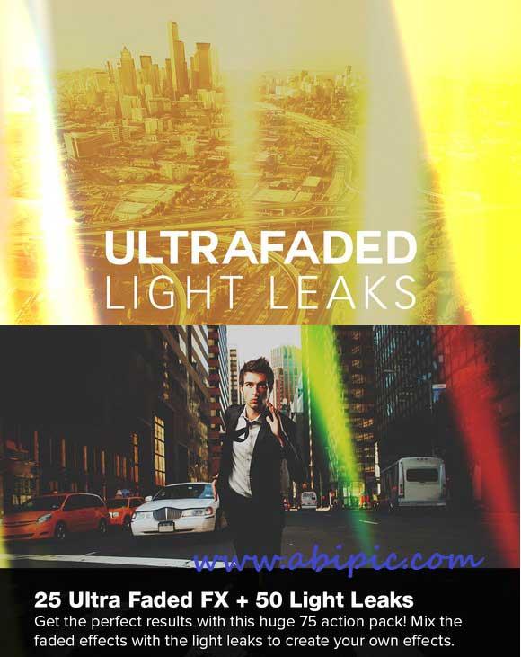دانلود اکشن فتوشاپ باریکه های نور Ultra Faded Light Leaks Photoshop Actions