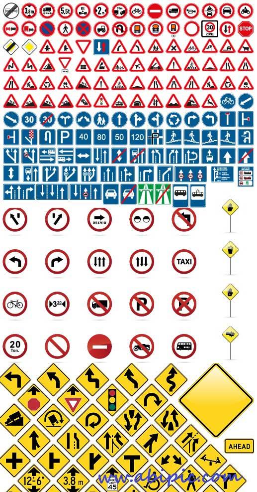 دانلود مجموعه کامل وکتور های ترافیکی و رانندگی Amazing Traffic Signs Vector