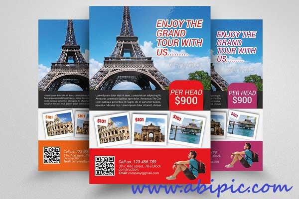 دانلود پوستر لایه باز آژانس های مسافرتی Tour Travel Agency Flyer Template