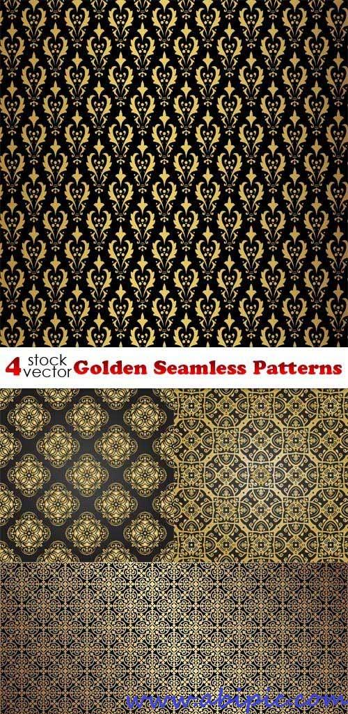 دانلود وکتور پترن های طلایی یکپارچه Vectors - Golden Seamless Patterns