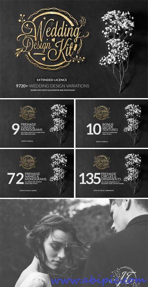 دانلود مجموعه ابزار گرافیکی عروسی Wedding Design Kit