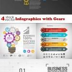 دانلود وکتور تصاویر اینفوگرافیک با چرخ دنده Vectors – Infographics with Gears