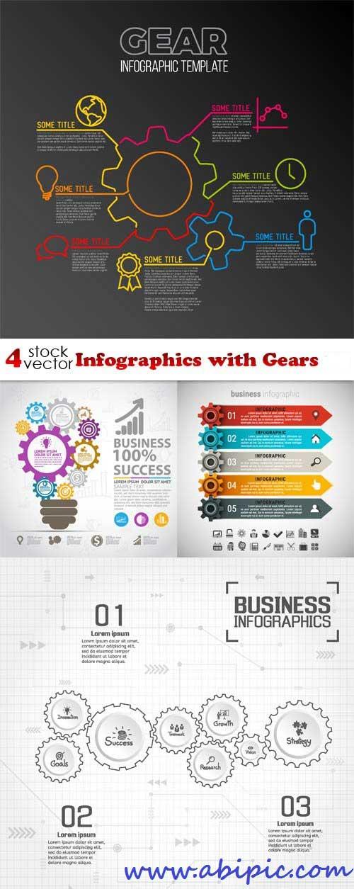 دانلود وکتور تصاویر اینفوگرافیک با چرخ دنده Vectors - Infographics with Gears