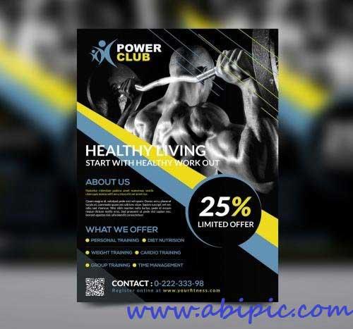 دانلود پوستر باشگاه بدنسازی شماره 2 Fitness Flyer PSD