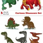 دانلود مجموعه وکتور دایناسور Vectors – Cartoon Dinosaurs Set