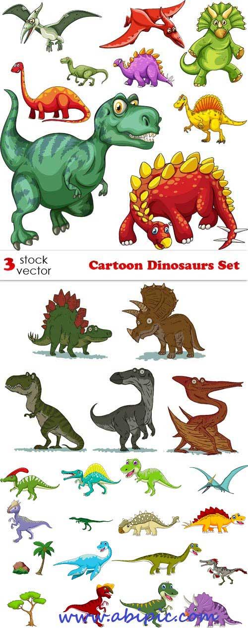 دانلود مجموعه وکتور دایناسور Vectors - Cartoon Dinosaurs Set