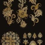 دانلود پترن و طرح های گلدار طلایی  Gold pattern and ornament vector