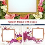 دانلود وکتور فریم طلایی قاب عکس با طرح گل رز Golden frame with roses