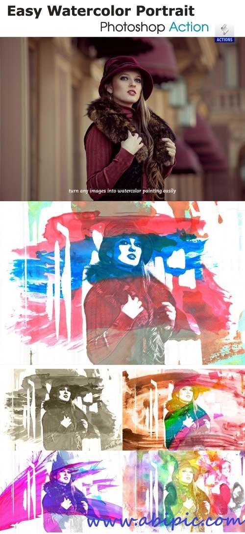 دانلود اکشن افکت آبرنگ شماره 3 Easy Watercolor Portrait - Photoshop Action