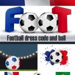 دانلود وکتور پیراهن و توپ فوتبال به رنگ پرچم کشورها Football dress code and ball