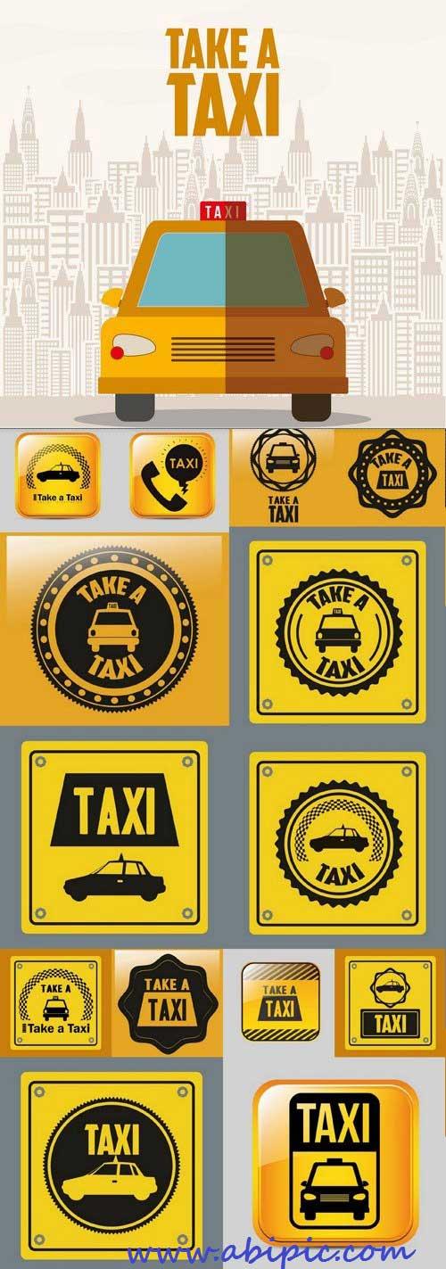 دانلود وکتور مجموعه آیکون ها و طرح های گرافیکی تاکسی Taxi Icons