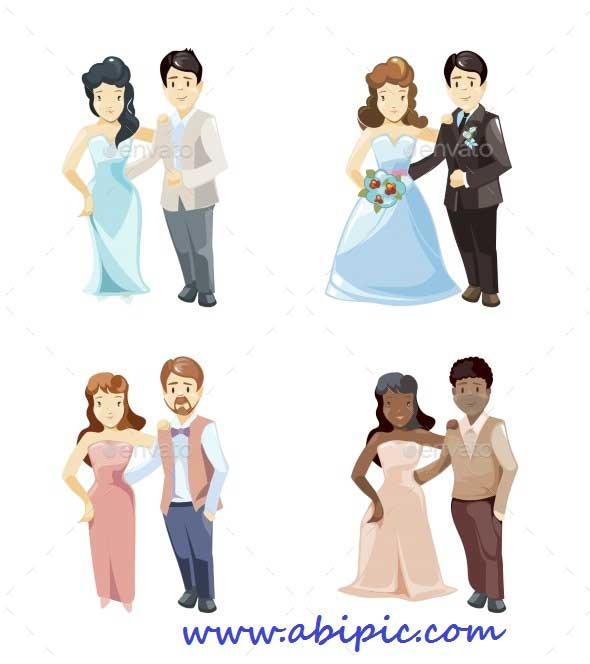 دانلود وکتور کارتونی عروس و داماد سری 2 Wedding Couples vector