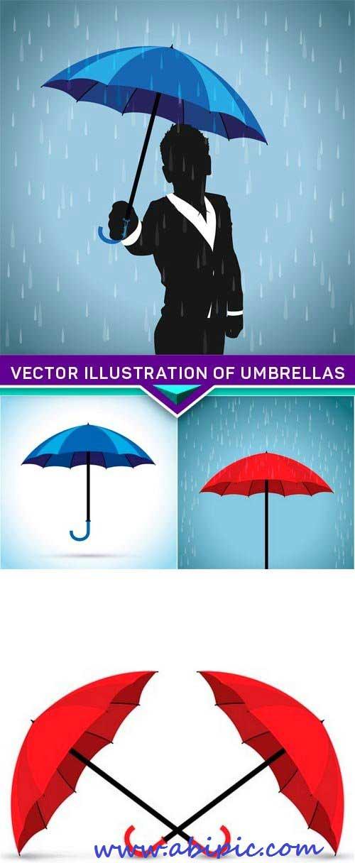 کادر نقاشی دانلود وکتور چتر شماره 3 Vector illustration of umbrellas ...