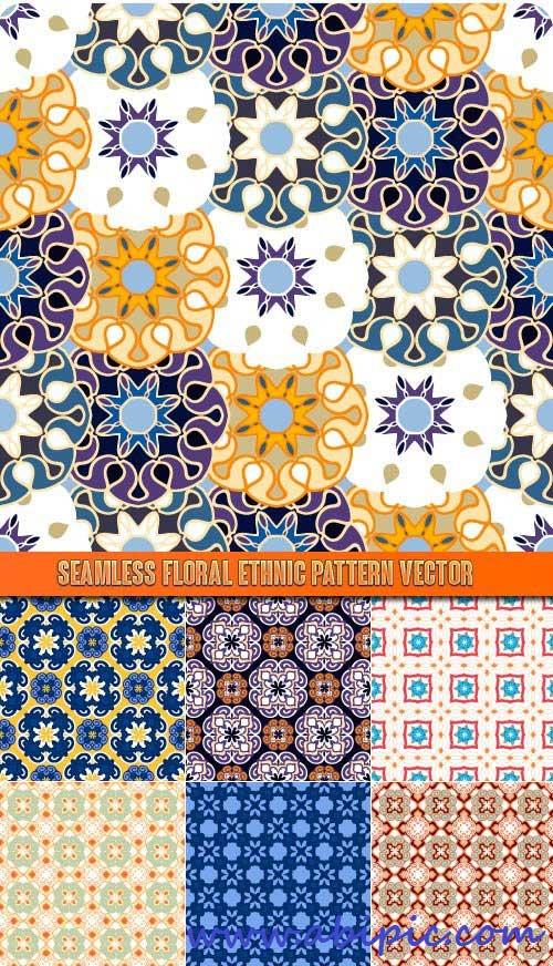 دانلود پترن های یکپارچه سنتی و گلدار شماره 14 Seamless Floral Ethnic Pattern vector