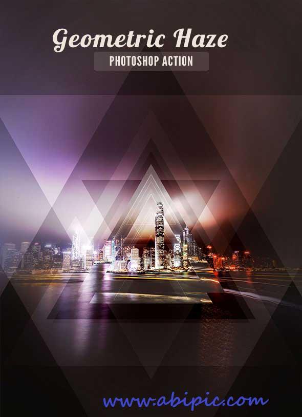 اکشن فتوشاپ ایجاد افکت های هندسی در عکس Geometric Photoshop Action