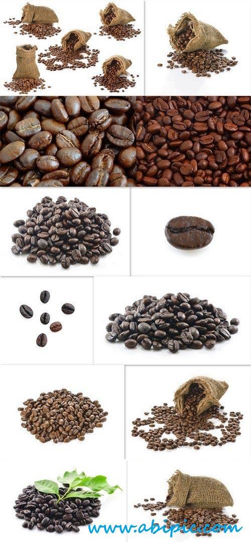 دانلود تصاویر استوک دانه قهوه Сoffee beans in bag isolated on white background