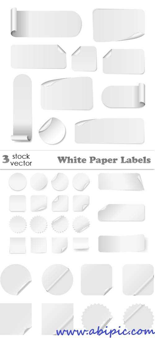 دانلود وکتور  لیبل ها و برچسب های سفید Vectors - White Paper Labels