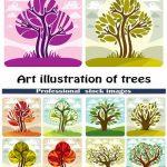 دانلود طرح وکتور هنری درخت Art illustration of trees