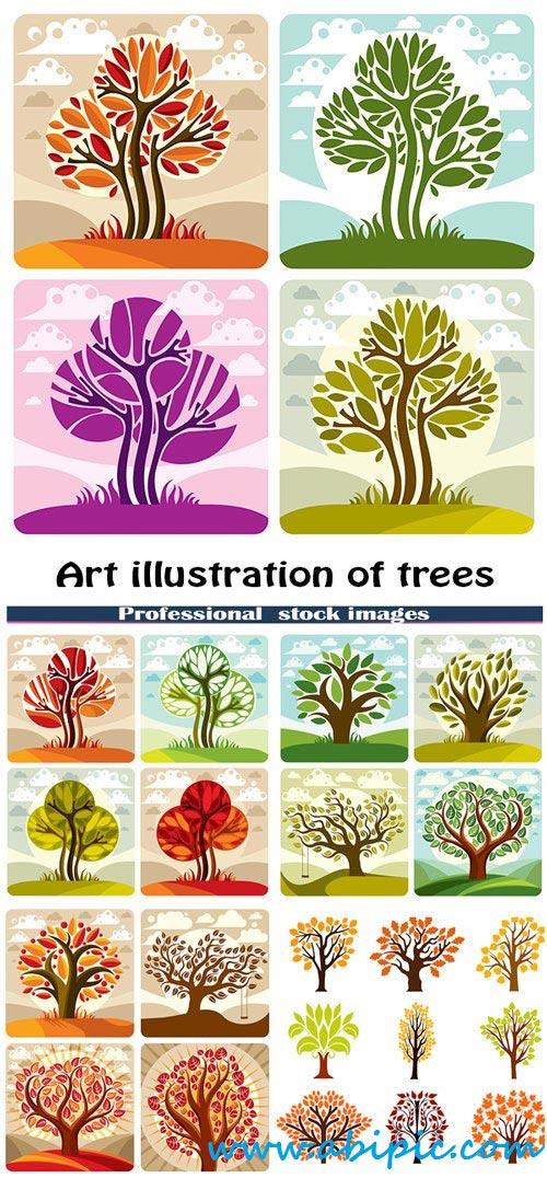 دانلود طرح هنری درخت Art illustration of trees