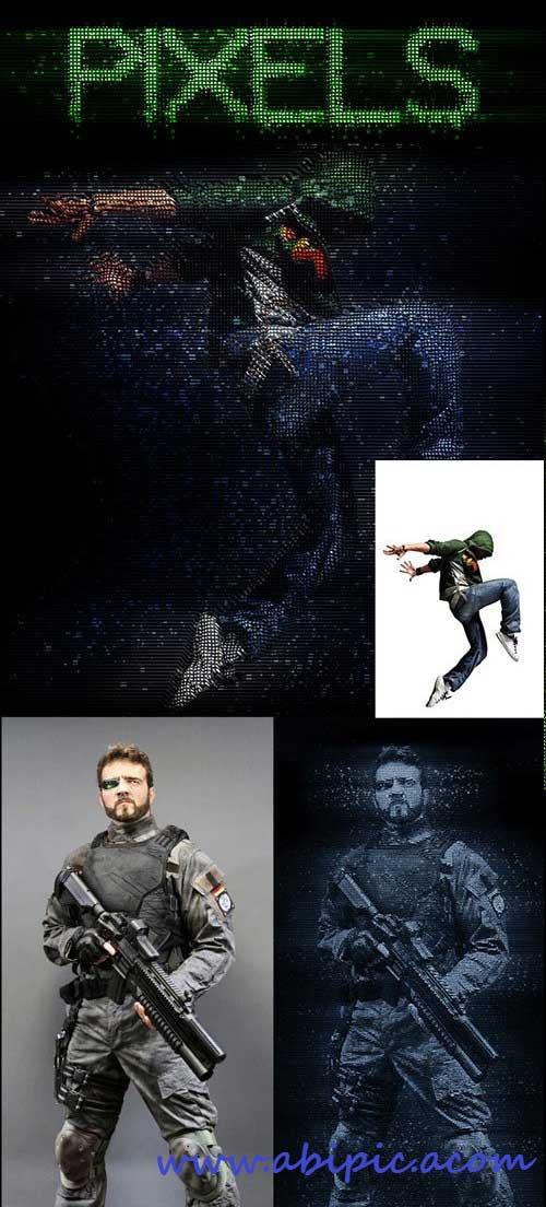 دانلود اکشن فتوشاپ افکت پیکسل Pixels Photoshop Action