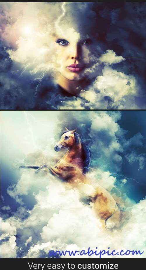 دانلود اکشن هنری فتوشاپ در میان ابر ها Cloud Rising Art Photoshop Action
