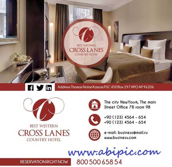 دانلود طرح لایه باز کارت ویزیت هتل Hotel Business card PSD Template